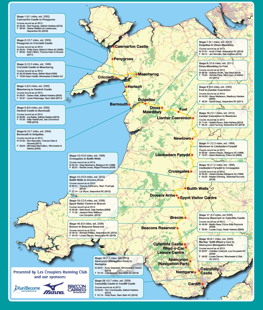 welsh castles relay map